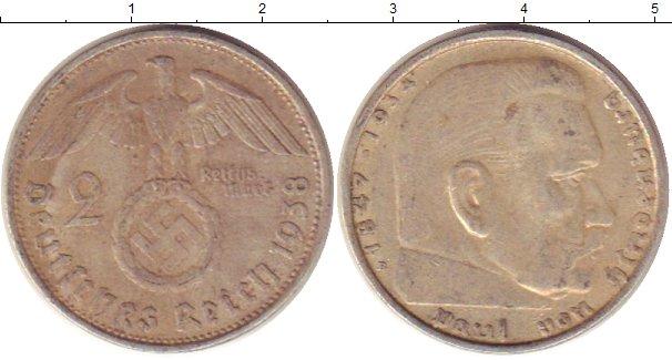 Картинка Монеты Третий Рейх 2 марки Серебро 1938
