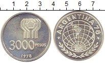 Изображение Монеты Аргентина 3000 песо 1978 Серебро UNC