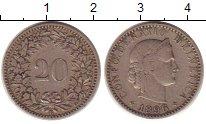 Изображение Монеты Швейцария 20 рапп 1896 Медно-никель XF