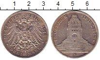 Изображение Монеты Саксония 3 марки 1913 Серебро VF 100-летие битвы при