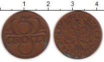 Изображение Монеты Польша 5 грош 1937 Бронза XF