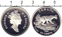 Изображение Монеты Канада 50 центов 1999 Серебро Proof Елизавета II.  Кугуа