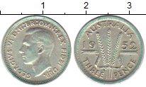 Изображение Монеты Австралия 3 пенса 1952 Серебро XF Георг VI