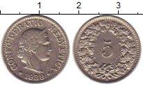 Изображение Монеты Швейцария 5 рапп 1939 Медно-никель XF