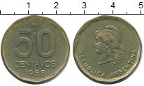 Изображение Монеты Аргентина 50 сентаво 1988 Латунь XF