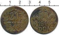 Изображение Монеты Германия Немецкая Африка 20 хеллеров 1916 Латунь XF-