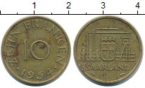 Изображение Монеты Саар 10 франков 1954 Латунь XF Завод