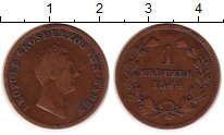 Изображение Монеты Германия Баден 1 крейцер 1844 Медь XF