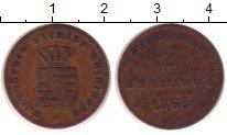 Изображение Монеты Германия Саксония 2 пфеннига 1865 Медь VF