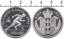 Изображение Монеты Ниуэ 5 долларов 1992 Серебро Proof- Олимпиада 96.  Бег