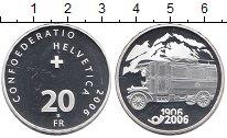 Изображение Монеты Швейцария 20 франков 2006 Серебро Proof- 100  лет  почтовому