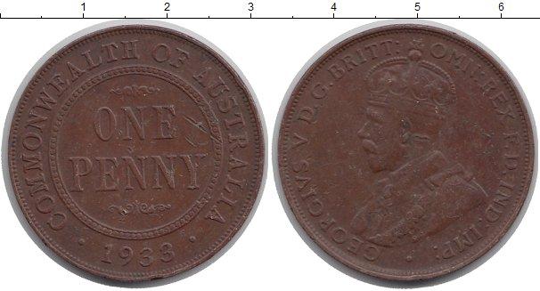 Картинка Монеты Австралия 1 пенни Медь 1933