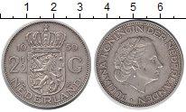 Изображение Монеты Нидерланды 2 1/2 гульдена 1959 Серебро XF Юлиана
