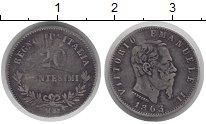 Изображение Монеты Италия 20 сентесим 1863 Серебро VF