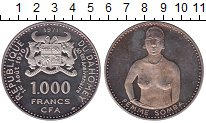 Изображение Монеты Дагомея 1000 франков 1971 Серебро Proof- 10 - летие  независи
