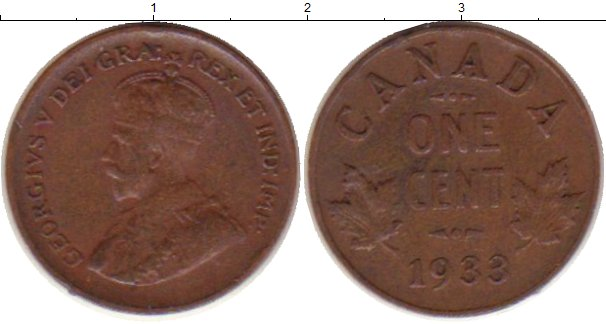 Картинка Монеты Канада 1 цент Медь 1933