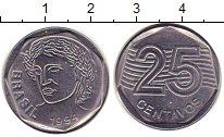 Изображение Монеты Бразилия 25 сентаво 1994 Медно-никель XF