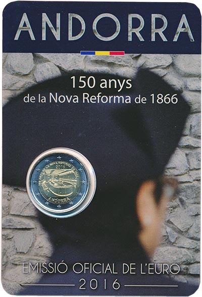 Изображение Подарочные монеты Андорра 2 евро 2016 Биметалл UNC 150 лет новой реформ