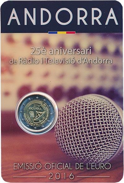 Изображение Подарочные монеты Андорра 2 евро 2016 Биметалл UNC 25 лет радио и телев