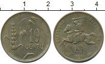 Изображение Монеты Литва 10 центов 1925 Латунь XF+ Рыцарь