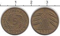 Изображение Монеты Веймарская республика 5 пфеннигов 1935 Медь XF