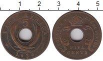 Изображение Монеты Великобритания Восточная Африка 5 центов 1934 Бронза XF