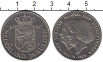 Изображение Монеты Нидерланды 2 1/2 гульдена 1980 Медно-никель UNC