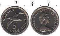 Изображение Монеты Фолклендские острова 5 пенсов 1998 Медно-никель UNC-
