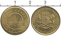 Изображение Монеты Сомали 5 сентесими 1967 Латунь UNC-