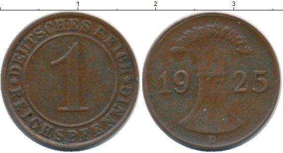 Картинка Монеты Веймарская республика 1 пфенниг Бронза 1925