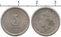 Изображение Монеты Малайя 5 центов 1945 Серебро XF+