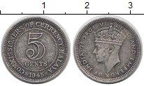 Изображение Монеты Малайя 5 центов 1945 Серебро XF-