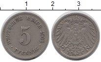 Изображение Монеты Германия 5 пфеннигов 1901 Медно-никель XF