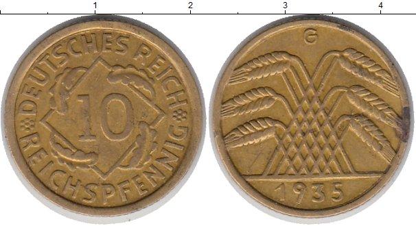 Картинка Монеты Веймарская республика 10 пфеннигов Латунь 1935