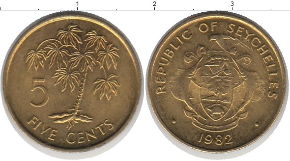 Картинка Монеты Сейшелы 5 центов Латунь 1982
