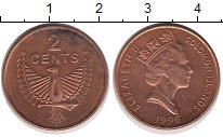 Изображение Монеты Соломоновы острова 2 цента 1996 Бронза XF