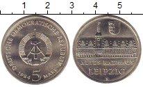 Изображение Монеты ГДР 5 марок 1984 Медно-никель XF Лейпциг.  Ратуша