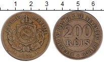 Изображение Монеты Бразилия 200 рейс 1871 Медно-никель XF
