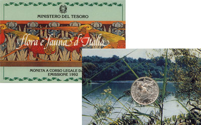Изображение Подарочные монеты Италия Флора и фауна Италии 1992 Серебро