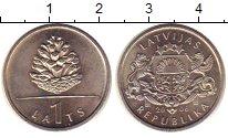 Изображение Монеты Латвия 1 лат 2006 Медно-никель UNC Сосновая  шишка