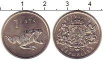 Изображение Монеты Латвия 1 лат 2010 Медно-никель UNC Жаба