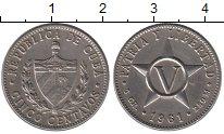 Изображение Монеты Куба 5 сентаво 1961 Медно-никель XF Родина  и  Свобода