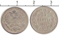 Изображение Монеты 1894 – 1917 Николай II 25 пенни 1906 Серебро