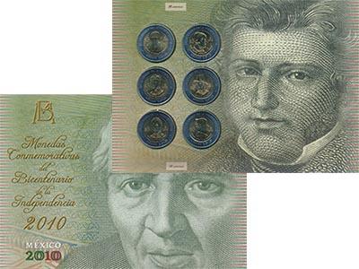Изображение Подарочные наборы Мексика 200 лет Независимости 2010 Биметалл UNC В набор входят шесть