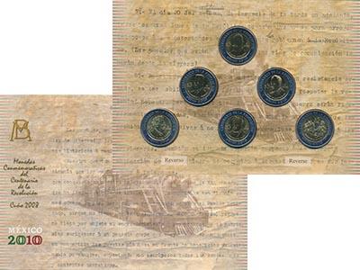 Изображение Подарочные монеты Мексика 200 лет Независимости 2008 Биметалл UNC В набор входят шесть