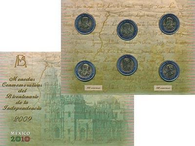 Изображение Подарочные наборы Мексика 200 лет Независимости 2009 Биметалл UNC В набор входят шесть
