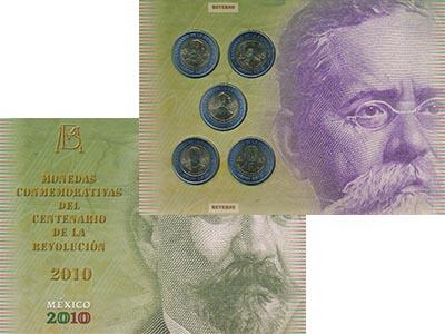 Изображение Подарочные наборы Мексика 200 лет Независимости 2010 Биметалл UNC В набор входят пять