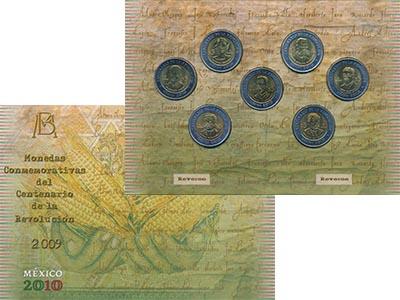 Изображение Подарочные монеты Мексика 200 лет Независимости 2009 Биметалл UNC