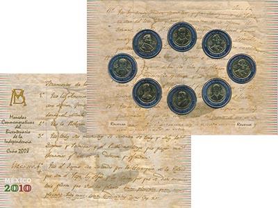 Изображение Подарочные монеты Мексика 200 лет Независимости 2008 Биметалл UNC В набор входят восем