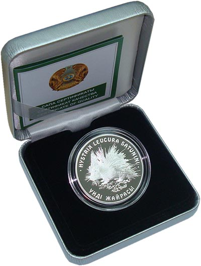 Изображение Подарочные монеты Казахстан Дикобраз 2009 Серебро Proof